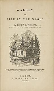 Walden (även Skogsliv vid Walden) (först publicerad 1854. Originaltitelsidan av Walden. Bilden är ritad av Thoreaus syster Sophia.