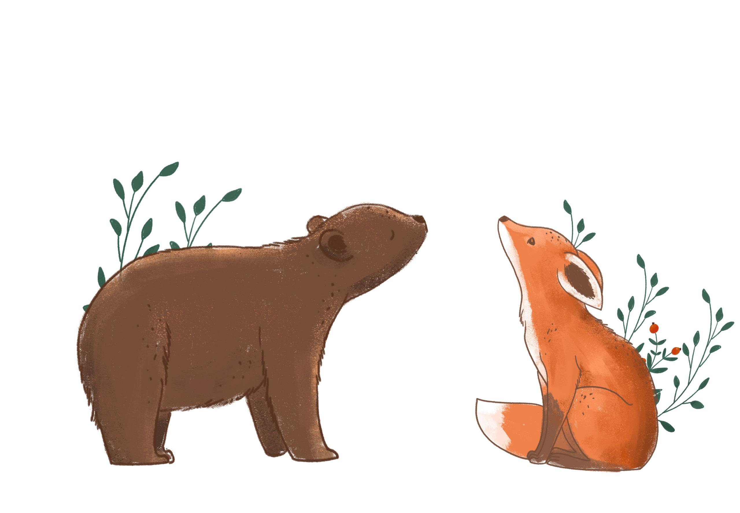 Myran, björnen och räven vägleder till rätt kultur på företaget Mum. Bild Adobe Stock.